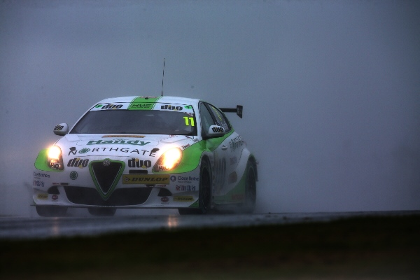 Rob Austin's Alfa Romeo driving in the rain